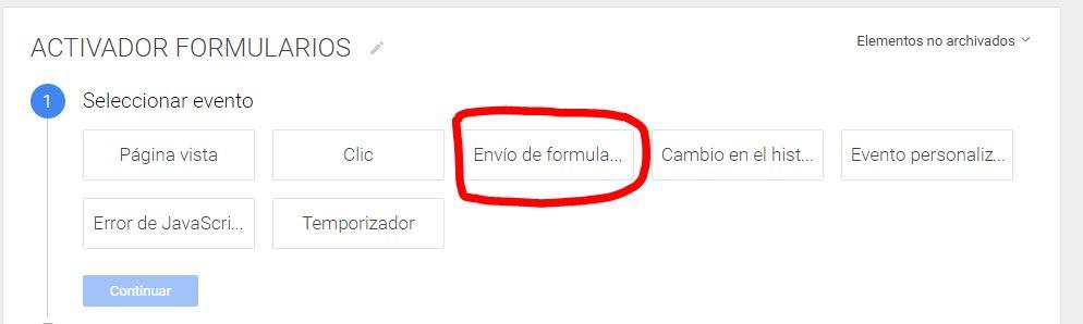 Activador de formularios de Google Tag Manager