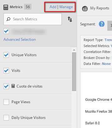 acceso metric builder barra lateral