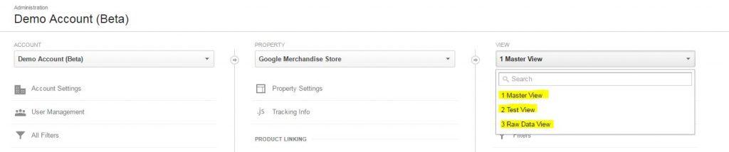 vistas de la cuenta de prueba de Google store
