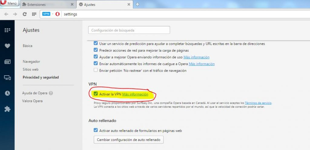 activar VPN gratis en opera developers