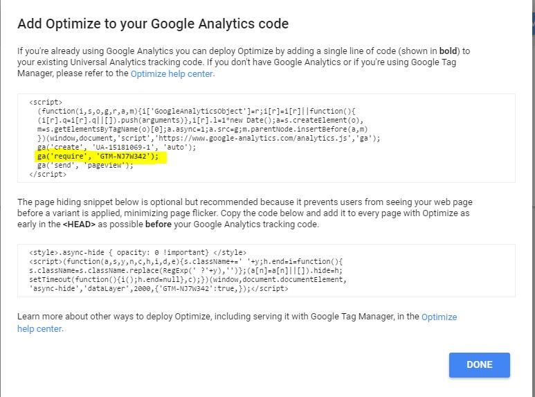 codigo de google optimize