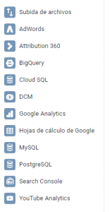 Conectores de datos Data Studio
