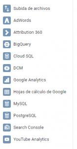 Conectores de datos Data Studio
