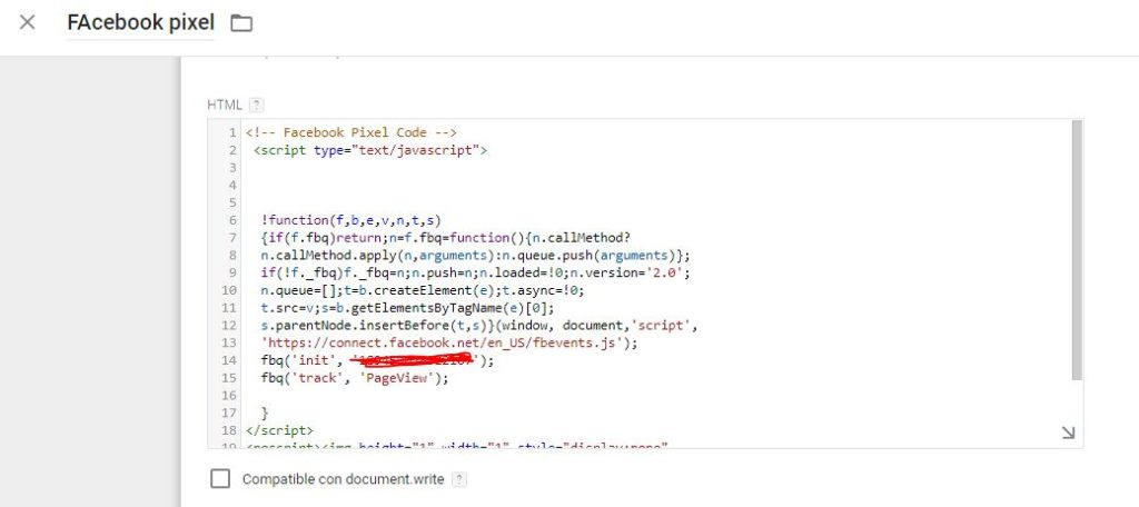 Pixel de facebook en google tag manager