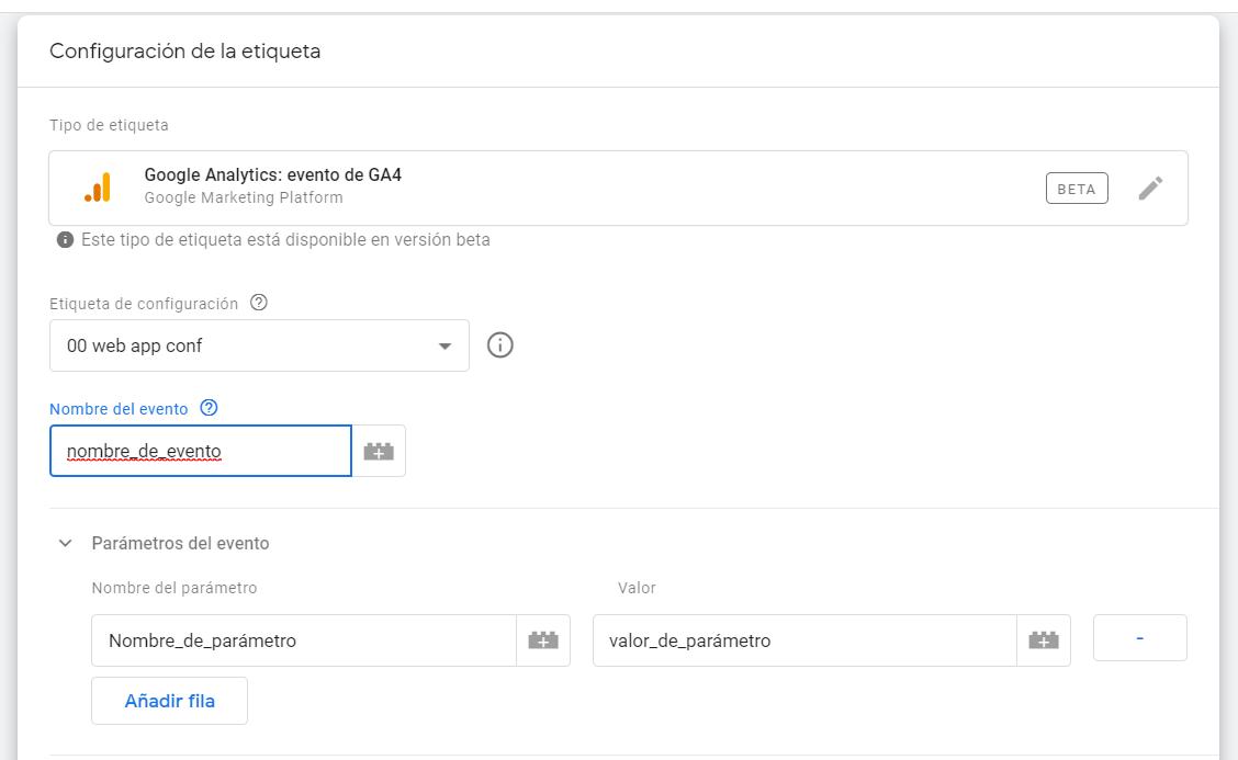 Etiqueta GTM de Evento GA4 - analisisweb
