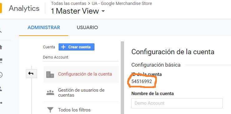 id de cuenta de Google analyitcs